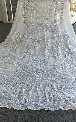 "Antique hand made Normandy lace  bedspread tablecloth 94""×74"""