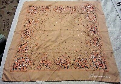 Vintage Leonardi Scarf in Floral Tan 30 inches Square w/ Rolled Edges