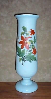 Tall 11 Inch  Bristol Glass Hand Painted Vase Flowers Butterflies Tiffany Blue