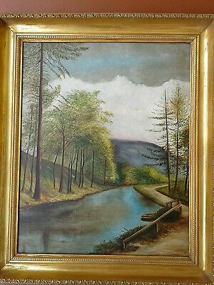 Antique American Landscape Oil Painting On Canvas. Mystery Artist. Framed. Clean