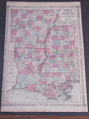 1862 Arkansas Mississippi Louisiana Johnson's and Ward Map