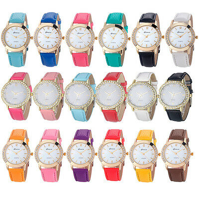 Luxury Geneva Womens Watches Diamond Analog Leather Quartz Wrist Watch Fashion