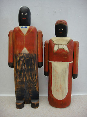 2- 1986 Wolf Creek Hand Carved Painted Wooden African American Folk Art Figures