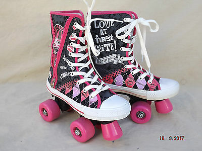 Monster High Womens Quad Roller Skates,size 3 Uk,lace Up High Top Boots,clean