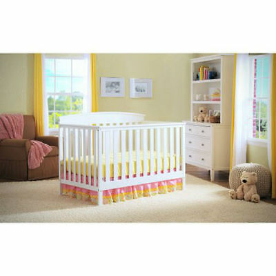 White Convertible 4-in-1 Adjustable Fixed Side Baby Crib Nursery Furniture Wood