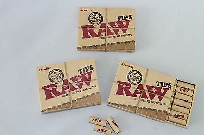 3 RAW PRE ROLLED Natural Cigarette Filter Paper Tips Boxes~63 Tips Total~