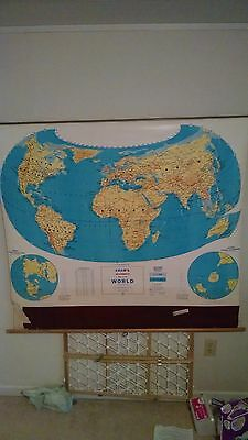 Vintage Canvas George F. Cram Classroom Wall Map 1970's 1980s
