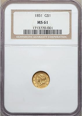 1851 NGC MS61 $1 One Dollar Gold Liberty Head Type 1 Uncirculated Type Coin