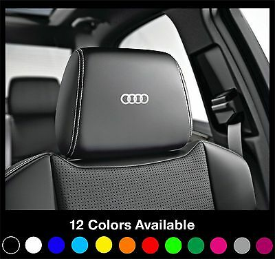 6x AUDI Logo Headrest Car Seat Decals Badge Sticker Quattro S Line A1 A3 A4 A6