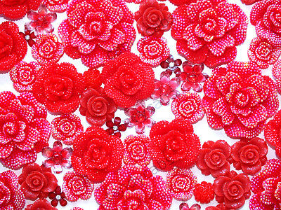 CandyCabsUK 20Pcs Mixed Red Flowers Cabochon DIY CRAFT Decoden Flatback Resin