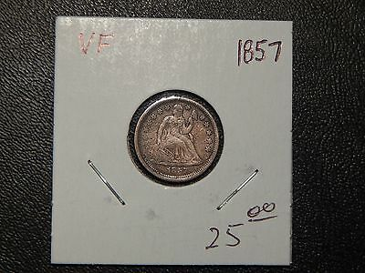 1857 Seated Dime VF Grade Nice Silver Coin!
