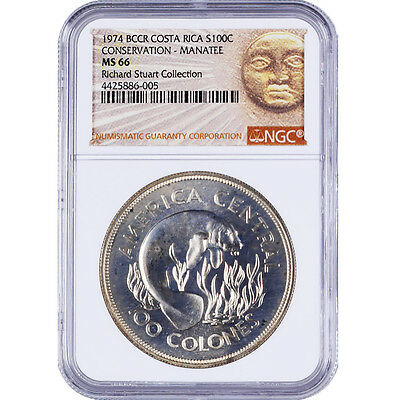 Costa Rica 100 Colones Silver Coin 1974 NGC MS 66 Richard Stuart Collection