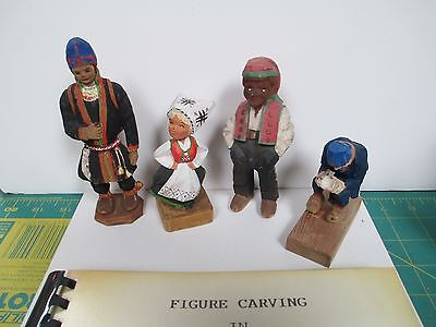4 Scandinavian Style, Signed Woodcarvings + Rare Book