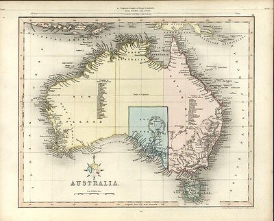 Australia New Holland New South Wales Hooked Lake Torrens 1848 Gilbert map