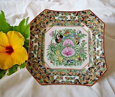 Chinese Export Porcelain  Famille Rose medallion eight sided square plate ""