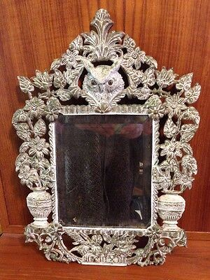 Vintage Owl Cast Iron Bronze Brass Beveled Mirror Shabby Flowers