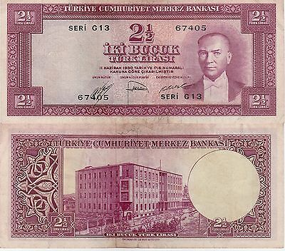 Turkey 2 1/2 Lira Banknote,(15.7.1952) Extra Fine Condition Cat#150-A-7405