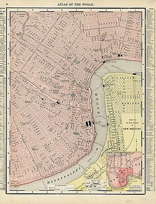 New Orleans Louisiana city plan map streets levies 1895 antique city plan map