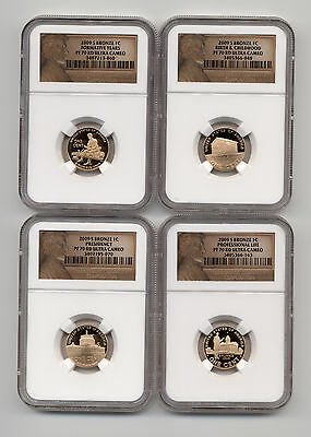 2009 S 1c Lincoln Penny Cent NGC PF 70 RD Ultra Cameo - 4 Coin Set