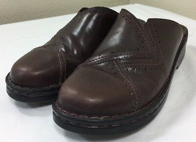 Clarks Mules Women's 10 10M Brown Leather Shoes Slides Slip On Flats