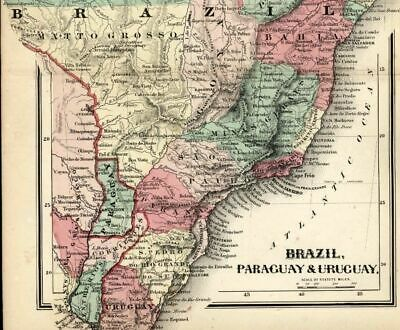Brazil Paraguay Uruguay Mattogrosso Graopara 1865 Colton small antique map
