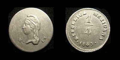 MEXICO. Silver 1/4 REAL 1843 Mo L.R. KM 368.6. Nice details!