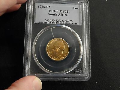 South Africa 1926-SA PCGS MS62 Gold Sovereign BU Coin