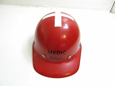 Vintage 1950's Mulhearn Medic Red Miners Hat With White Cross On Top Fibre Metal