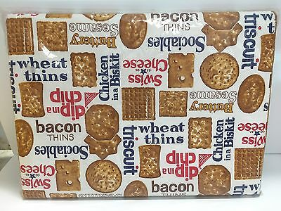 VTG NABISCO 52x70 TABLECLOTH ADVERTISING CHICKEN BISKIT CRACKERS BACON THINS +++