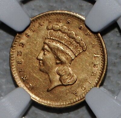 1856 Slanted 5 Princess Gold One Dollar $1 - NGC AU Details Scratched Reverse