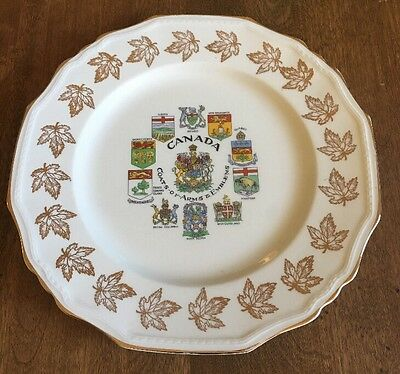 ALFRED MEAKIN ENGLAND CANADIAN COATS OF ARMS COLLECTOR PLATE.  10 Inches.