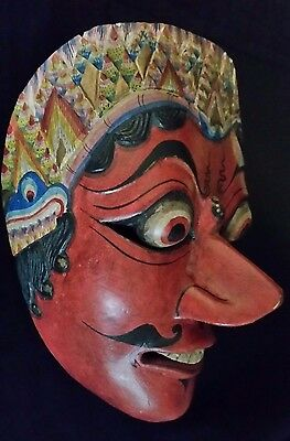 Old Javanese Topeng Klana Sewandana Hand Carved Wood Mask SIGNED