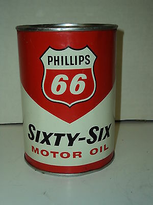 Vintage Phillips 66 Sixty Six Full One Quart Metal Oil Can Gas Sign Unopened