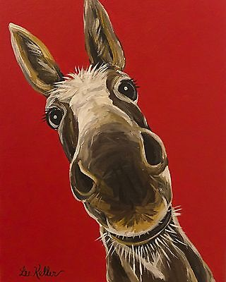 "Donkey Art Print from original canvas Donkey painting 8x10"" signed by artist"