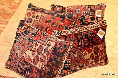 Pair of Antique Handmade Persian Pillow made out of Vintage Persian Hamadan Rug