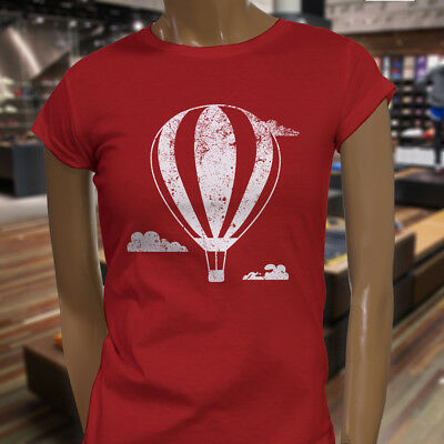 HOT AIR BALLOON ADVENTURE TRAVEL VACATION FLYING Womens Red T-Shirt