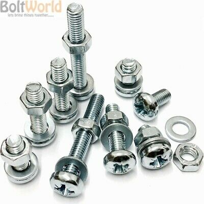 M3 / 3mm ZINC MACHINE POZI PAN HEAD SCREWS BOLTS WITH FULL NUTS & THICK WASHERS