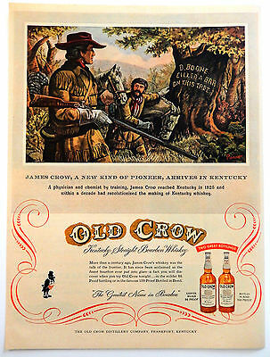 Vintage 1954 Old Crow Kentucky Bourbon Whiskey advertisement print ad art