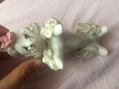 2Vintage 50s NARCO Japan spaghetti ware French poodle figurine rose white parcel