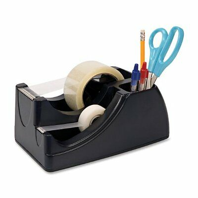 2-In-1 Heavy Duty Tape Dispenser Office Desk Mail Shipping Room Black Holds Pens