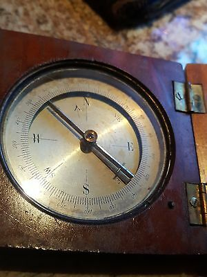 antique compass civil war 1864 era nice quality wood case made in France