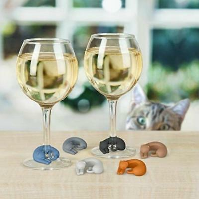 Silicone Cat Wine Glass Charms / Drink Markers Clips - Set of 6 Q