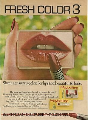 Maybelline Fresh Color 3 Lips 1979 Magazine -  Print Ad