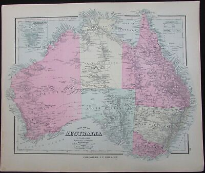 Australia NSW Carpentaria 1886 lovely large detailed antique map by Frank Gray