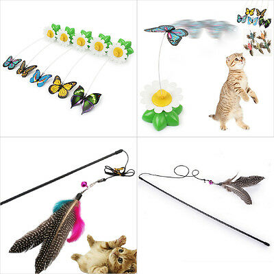 Funny Pet Cat Toy Electric Rotating Butterfly Feather Rod Cat Teaser Play Toys