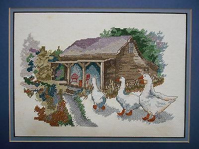 Vintage Country Cottage With Geese Completed Cross Stitch With Double Mat