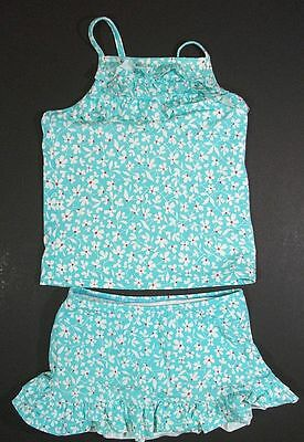 LANDS END aqua floral skirted TANKINI SWIMSUIT GIRLS 6