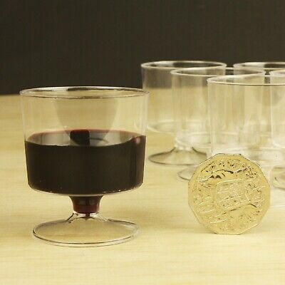 120 X WINE TESTER PLASTIC GLASSES 60ml - Disposable Glass Cups Taster TINY SMALL