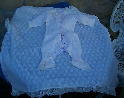 Lace Romper/jumpsuit And Lace Layette Blanket!! Baby Or Baby Dolls! Lovely!!!!!!
