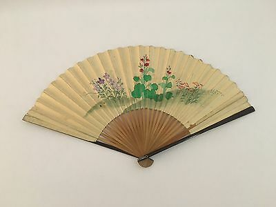 19th Century Large Ladies Fan with Bamboo Ribs Asia Figures on Paper